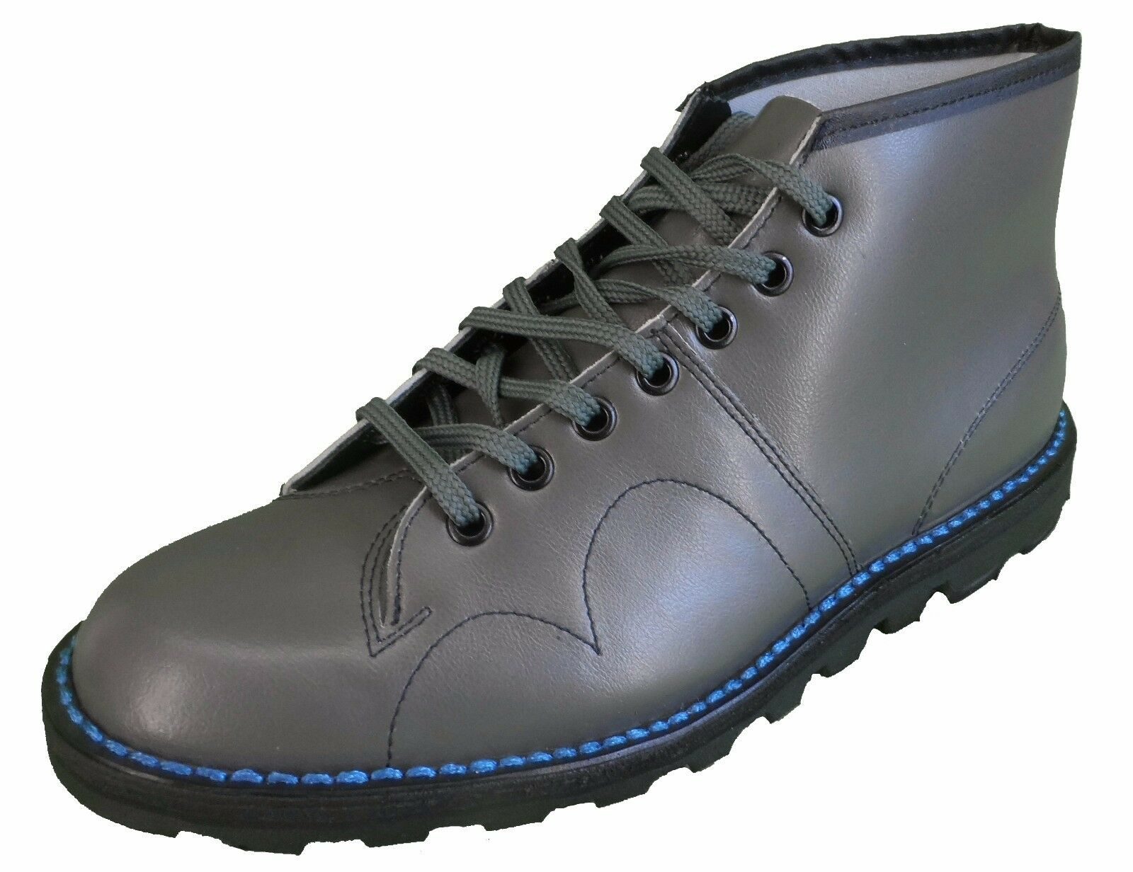 Classic Retro Unisex Grey Leather Monkey Boots