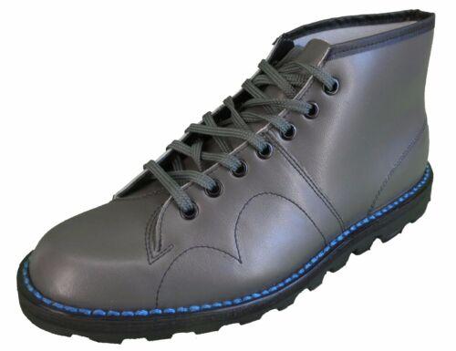 Classic Retro Unisex Grey Leather Monkey Boots