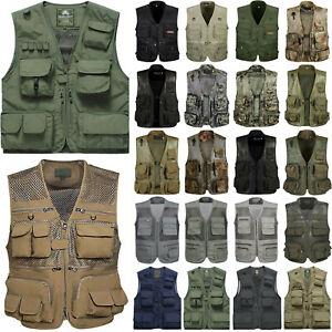 Mens-Multi-Pocket-Waistcoat-Jacket-Fishing-Hunting-Photography-Utility-Vest-Coat