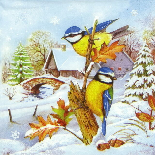 4x Single Table Party Paper Napkins for Decoupage Winter Village with Birds