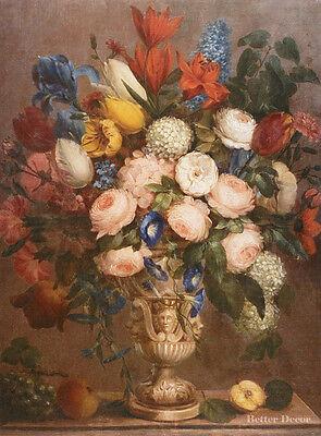 """16/"""" PRINT Flowers in Vase,1843 Kolesinski ANTIQUE MUSEUM ART //STILL LIFE ROSES"""