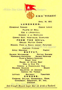 Foto 5x7: Titanic almuerzo menú: el salón comedor de clase ...