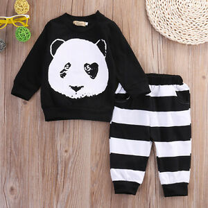 5306809f5d39 UK Seller Infant Baby Boy Girl Tops T shirt + Striped Pants Outfits ...