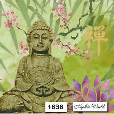 (1636) TWO Individual Paper Luncheon Decoupage Napkins - BUDDHA RELIGIOUS STATUE