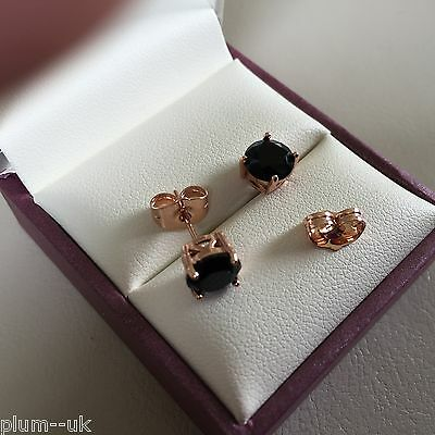 Classic round white sapphire 18k ROSE GOLD filled 7mm stud earrings BOXED PlumUK