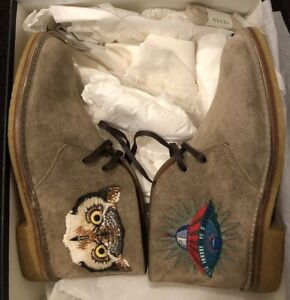 ba402aeb1dcc Image is loading GUCCI-OWL-SUEDE-BEAR-ARDESIA-SNEAKERS-SHOE-Sz-