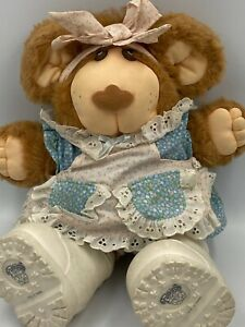 Vintage-Furskin-15-034-Xavier-Roberts-1986-Coleco-Girl-Dress-Shoes-Bow-Plush-Bear