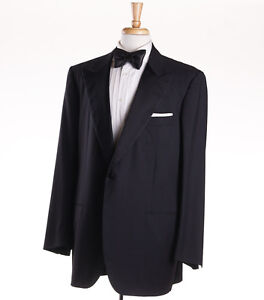 e4a2741c0a8 NWT $8675 KITON Black One-Button Peak Lapel Wool Tuxedo 46 L (Eu 56L ...
