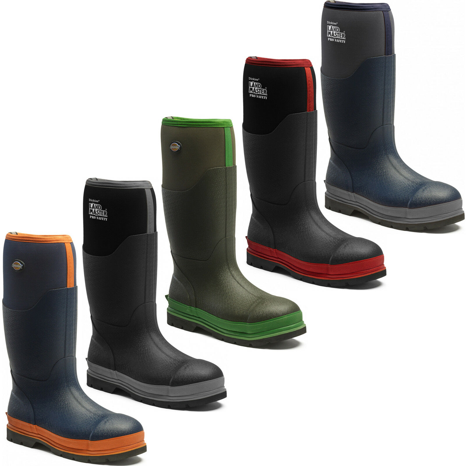 Dickies LANDMASTER Pro Impermeabile Sicurezza Stivali di uk6-12 gomma Acciaio Puntale Stivali uk6-12 di 569ff5
