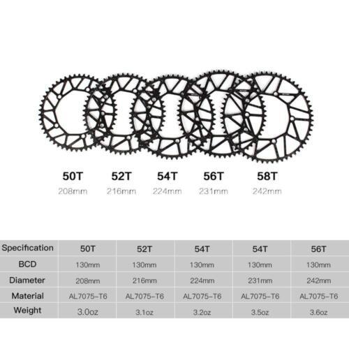 Litepro Hollow Bike Chainring BCD130mm Narrow Wide Single Chainwheel 50-58t