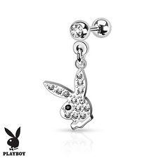 PLAYBOY Bunny Gemmed CARTILAGE TRAGUS EAR Rings Stud Barbell Piercing Jewelry