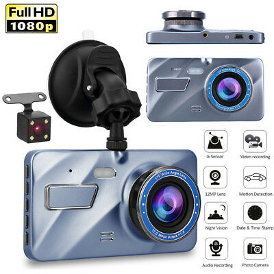 4'' KFZ Autokamera Full HD 1080P DVR Dashcam Video Recorder Dual Lens Vehicle
