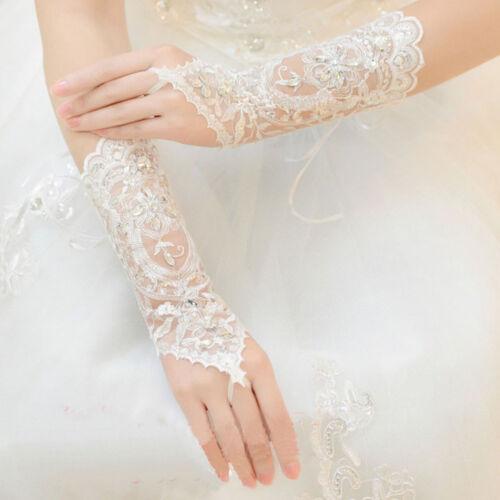 Bride Wedding Dress Short Gloves Beads Rhinestone Lace Fingerless Gloves Hot