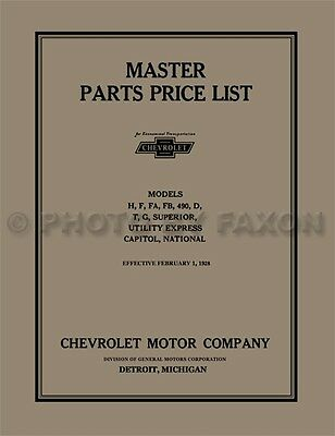Chevrolet Master Parts Book 1924 1925 1926 1927 1928 Chevy Car and Truck Catalog