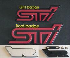 SUBARU IMPREZA  STI BOOT & FRONT GRILL BADGE SET TRUNK BADGE X2 red and black