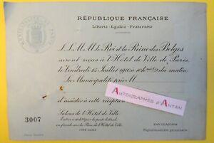 Carton-invitation-1910-Roi-amp-Reine-des-Belges-Hotel-ville-Paris-Belgique-Stern