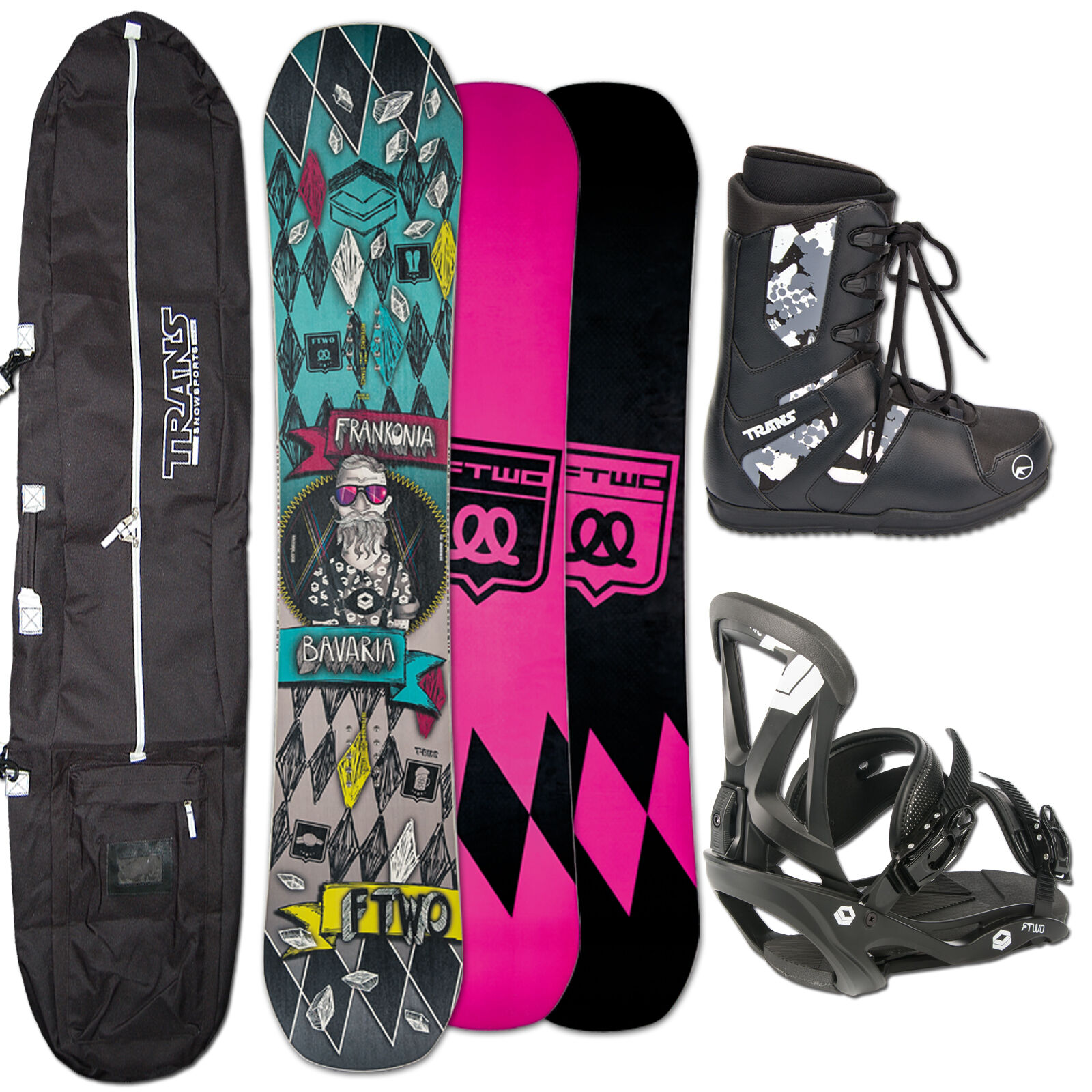 SNOWBOARD SET FTWO T-RIDE MAN  152 CM + FTWO SONIC BINDUNG L + BAG + BOOTS