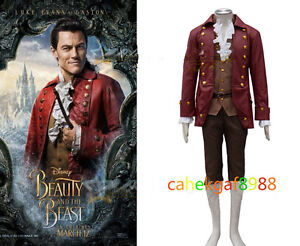 Image is loading Beauty-and-the-Beast-Gaston-Cosplay-Costume-Men-  sc 1 st  eBay & Beauty and the Beast Gaston Cosplay Costume Menu0027s Handsome Uniform ...