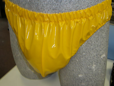 NEW PVC High Cut Brief, Swim Trunks Small to XXL - Yellow