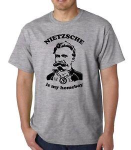 Nietzsche Es Mi Homeboy Camiseta Filosofía Geek Funny Frase Platón Freud  Marx | eBay