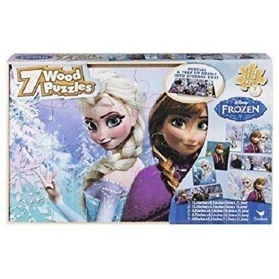 Disney Frozen Puzzle Wood Elsa Anna Olaf Storage Box 7 Puzzles New
