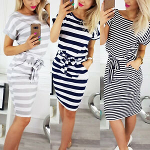 Women-Stripe-Short-Sleeve-Pocket-Bodycon-Midi-Dress-Summer-Casual-Slim-Dresses
