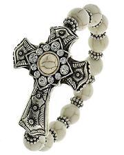 Religious Cross Burnished Silver Tone Metal Stretch Bracelet