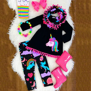 Unicorn-Kids-Baby-Girls-Outfits-Clothes-T-shirt-Tops-Dress-Long-Pants-2PCS-Set
