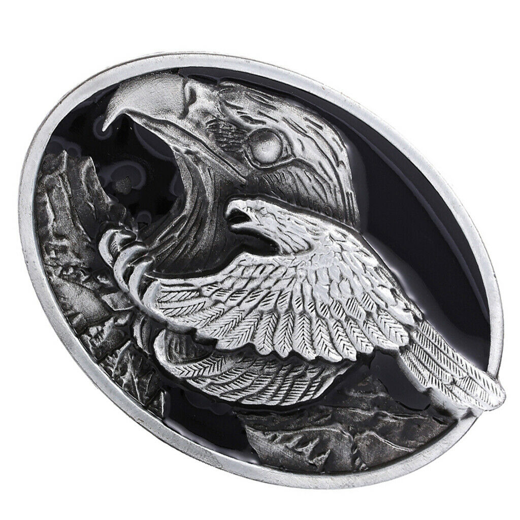 Rodeo Western Cowboy Cowgirl Oval Belt Buckle Eagle Jeans Leather Belt Decor