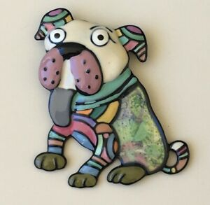Adorable-artistic-bull-dog-Pin-large-Brooch-Pin-enamel-on-Metal