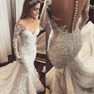Sexy Mermaid Wedding Dresses Long Sleeve White Lace Applique Open Back Sequined Ebay