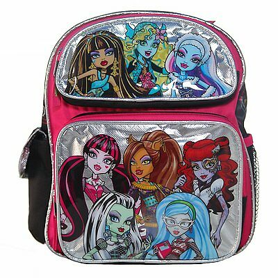 "Monster High 8 Girls Small 12"" inches Backpack - Silver - BRAND NEW"