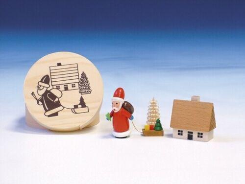 Holzdekoration Spanschachtel Weihnachtsmann Durchmesser 8 cm NEU Spielzeug  Deko