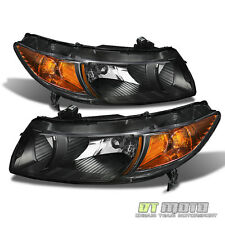 Black 2006-2011 Honda Civic Coupe 2Dr Headlights Headlamps 06-11 Pair Left+Right