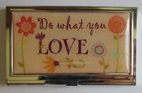J Do What You Love Peach Metal Id Holder Business Credit Card Wallet Ganz
