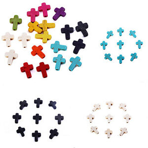 Hot-40x-Stone-Cross-Beads-Loose-Spacer-Charm-Fit-DIY-Jewelry-Makings-Mixed-Color