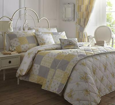 Patsy Lemon Duvet Set Delicate Yellow And Grey Floral Design Ebay