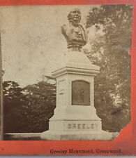 ANTIQUE STEREOSCOPIC PHOTO GREELEYS MONUMENT HAHNE & CO BAZZAR ADVERT STEREOVIEW