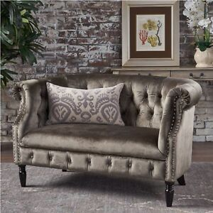 Pleasing Details About Antique Grey Velvet Scroll Arm Tufted Small Space Chesterfield Loveseat Sofa New Evergreenethics Interior Chair Design Evergreenethicsorg