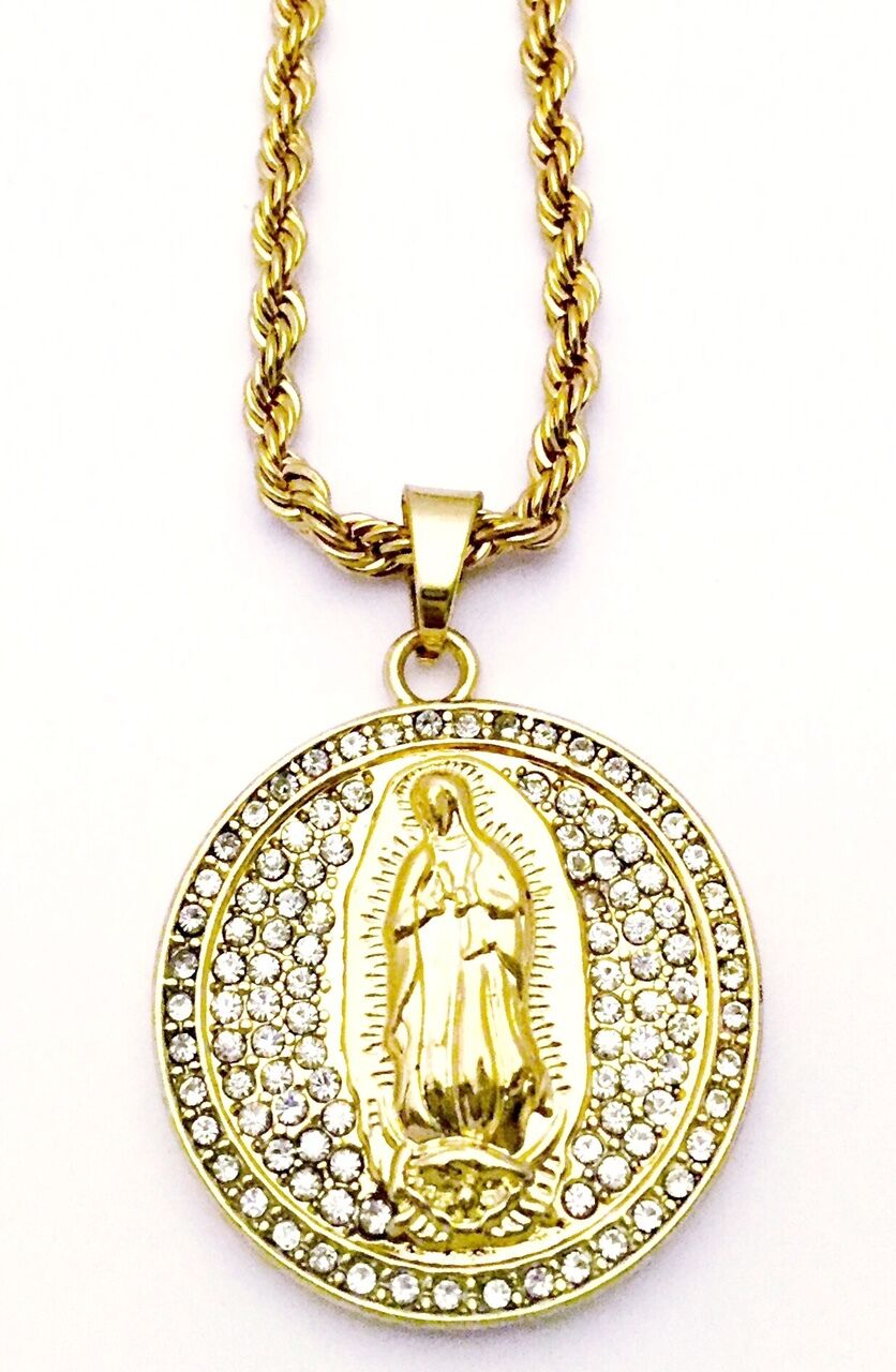c393e7988 Hip Hop 14k Gold Plated Iced CZ Oval Jesus Pendant With Rope Chain ...