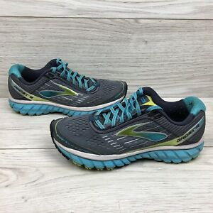 Womens-Brooks-Ghost-9-Running-Shoes-Gray-Blue-Green-and-white-Size-8-5