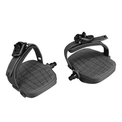 """BIKE Pedals Pair 9//16/"""" w//StrapsLarge HEAVY DUTYCybex AX-21383 Replacement"""