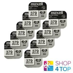 10 MAXELL 379 SR521SW BATTERIES SILVER 1.55V WATCH BATTERY EXP 2022 NEW