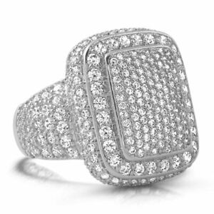 Solid 925 Sterling Silver Iced Out Eternity Band Wedding Bust Down Pinky Ring