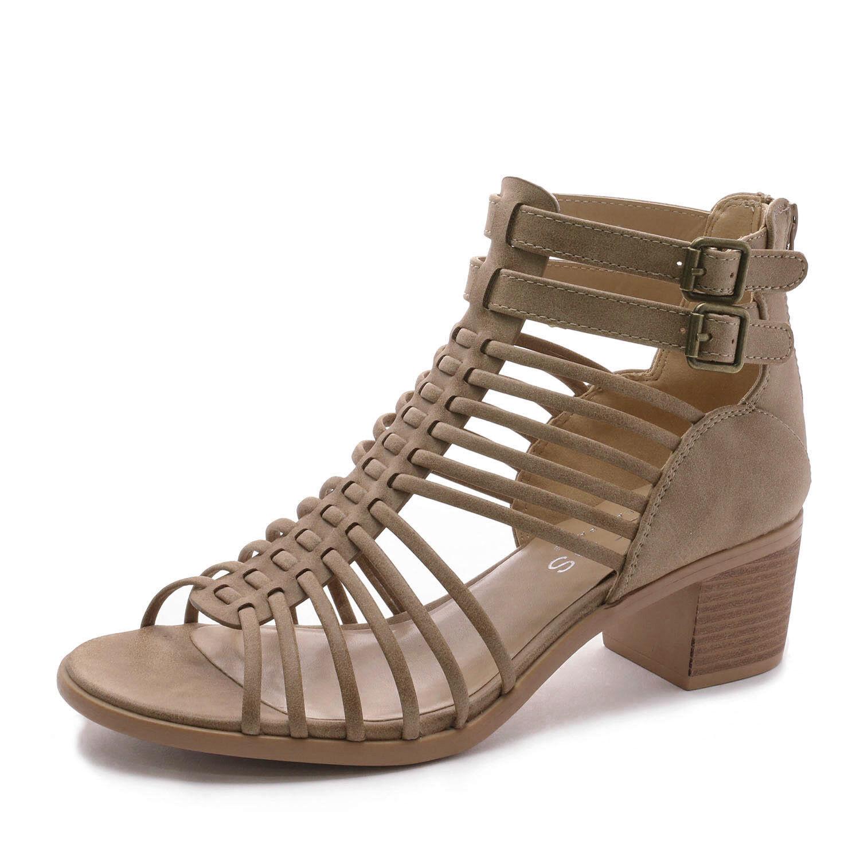 TOETOS Women IVY Summer Open Toe Ankle Strap Zipper Low Wedge Block Heel Sandals