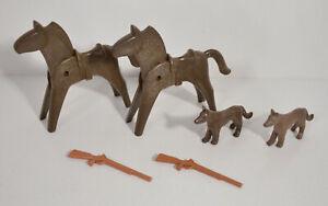 Vintage-1974-Horse-Gun-Rifle-Dog-Wolf-Fox-Coyote-Figure-Lot-Geobra-Playmobil