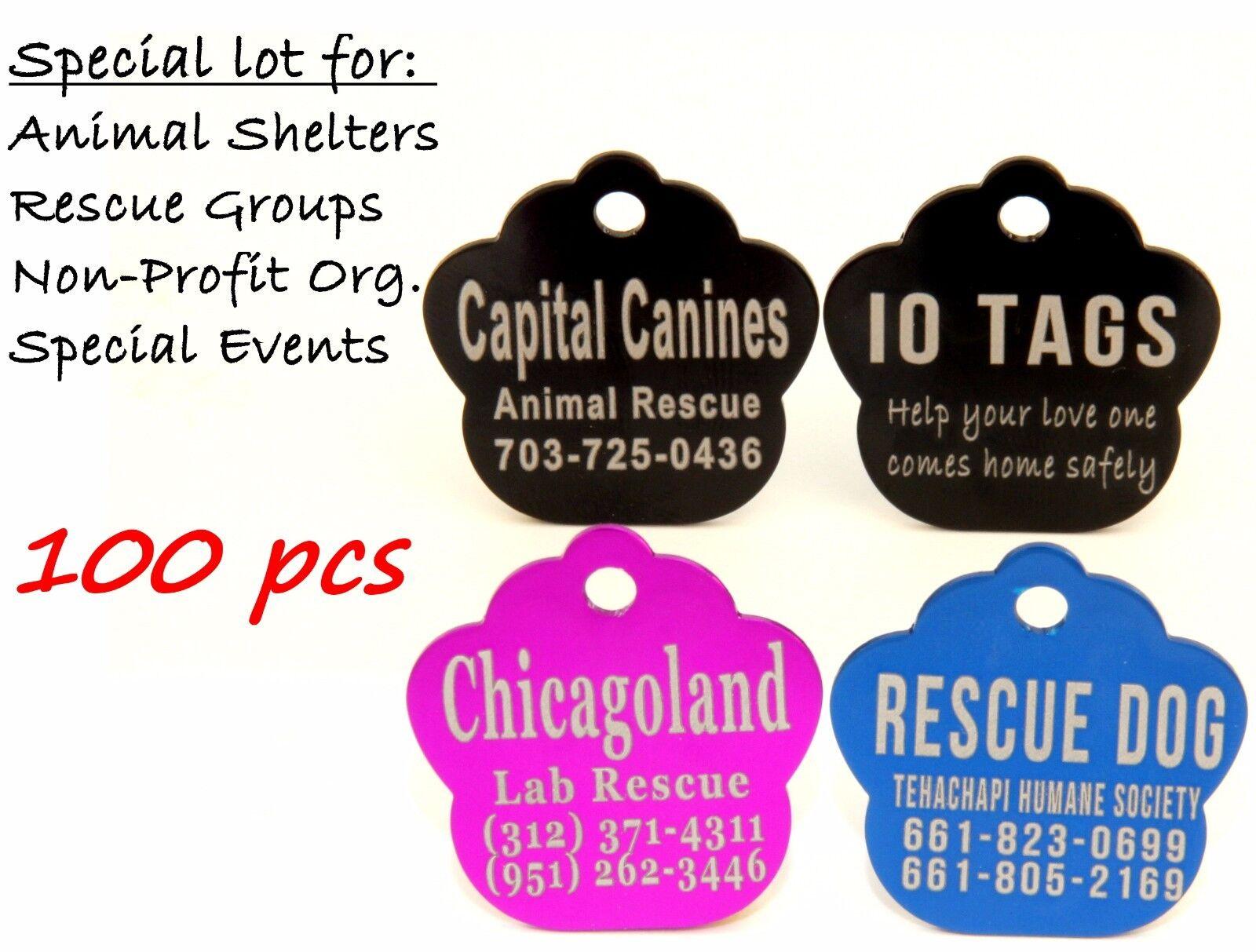 Bulk Lot Pet ID Tag Dog Cat for Shelter Rescue Non Profit Lot 100