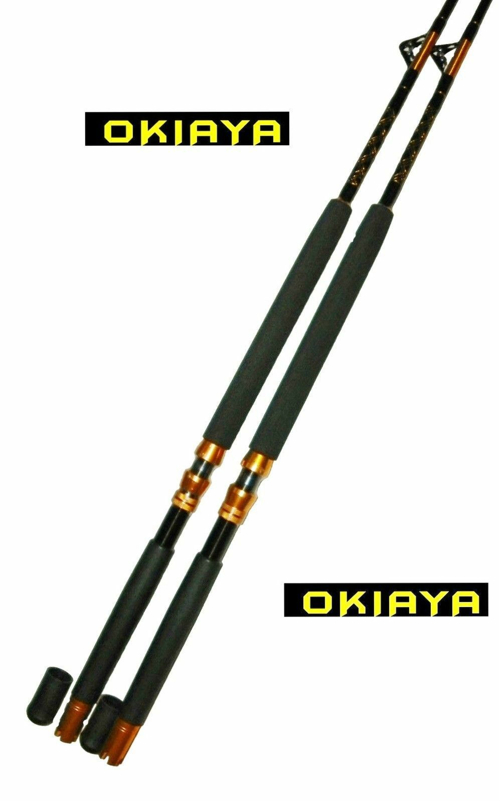 OKIAYA COMPOSIT 160-200LB  THE BIG NASTY  SALTWATER BIG GAME ROLLER ROD SET OF 2
