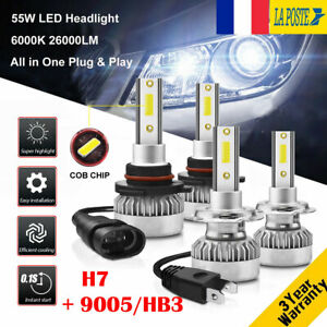 H7-amp-9005-HB3-110W-26000LM-LED-Ampoule-Voiture-Feux-Lampe-Kit-Phare-6000K-2-Paires