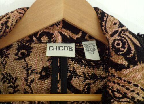 Giacca donna da Tapestry Taglia Paisley 2 Nero Chico's Marrone Fringe Stampa SRgRqU